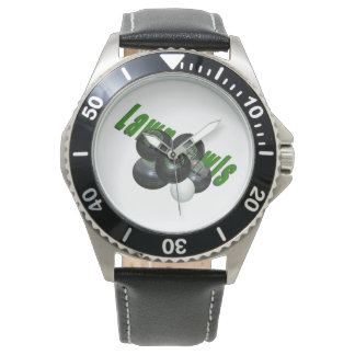 Lawn_Bowls_Logo_Image_Mens_Stainless_Steel_Watch Watch