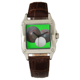 Lawn_Bowls,_Old_School_Ladies_Brown_Leather_Watch Watch