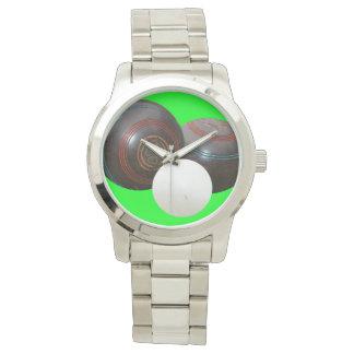 Lawn_Bowls,_Old_School_Large_Silver_Unisex_Watch Watch