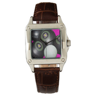 Lawn Bowls On Pink, Ladies Brown Square Watch. Watches