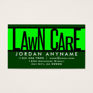 Lawn Care Funky Text Business Card