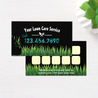Lawn Care & Landscaping Service Loyalty Punch Business Card