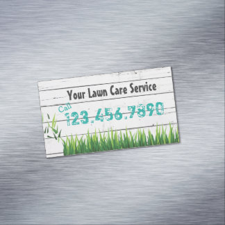 Lawn Care & Landscaping Service Magnetic Business Cards