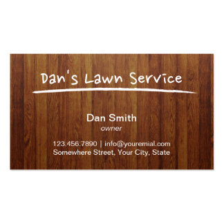Lawn Care Service Wood Background Professional Pack Of Standard Business Cards