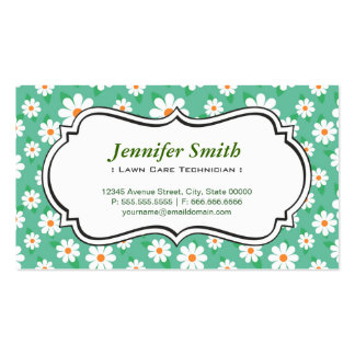 Lawn Care Technician - Elegant Green Daisy Business Cards