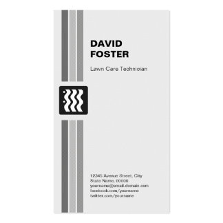 Lawn Care Technician - Modern Black White Business Cards