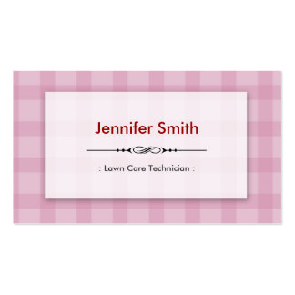 Lawn Care Technician - Pretty Pink Squares Business Card Template
