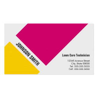 Lawn Care Technician - Simple Pink Yellow Business Cards
