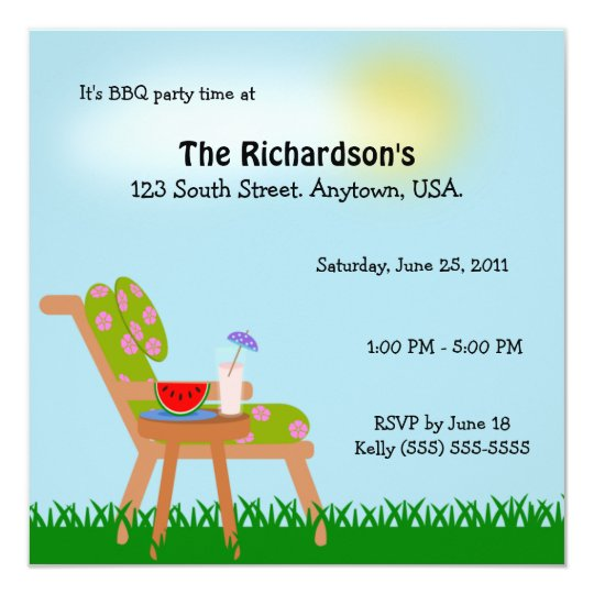 Lawn Chair Summer Time BBQ Party Card