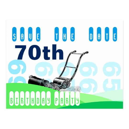 Lawn Mower 70th Birthday Party Save the Date