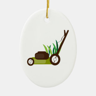 Lawn Mower Ceramic Oval Decoration