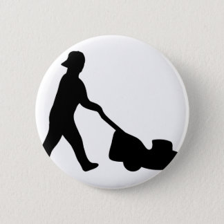 lawn mower icon 6 cm round badge