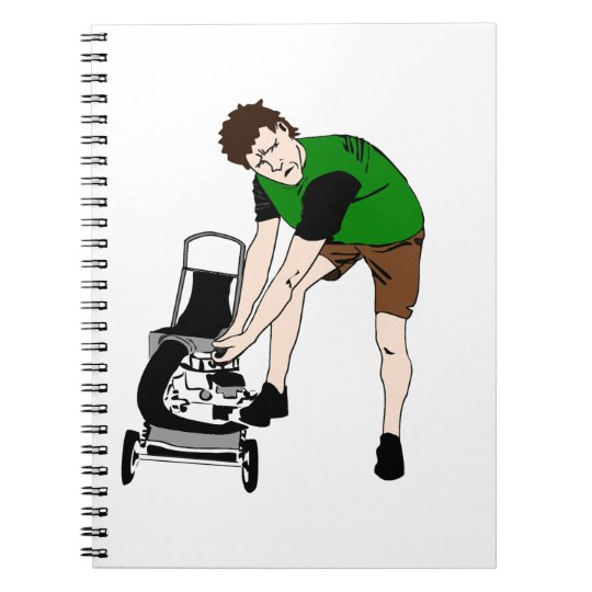 Lawn Mower Man Cartoon Funny art Notebook
