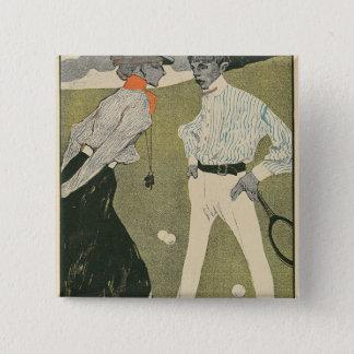 Lawn Tennis 15 Cm Square Badge