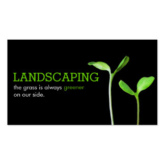 Lawncare Landscaping Lawn green sprouts black Pack Of Standard Business Cards