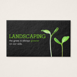 Lawncare Landscaping Lawn green sprouts black Business Card