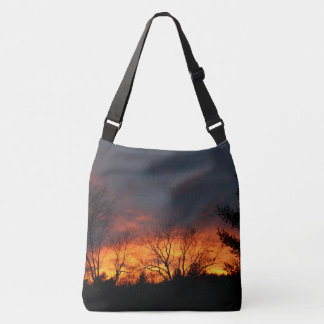 Lawndale Cemetary Fiery Sunset Crossbody Bag