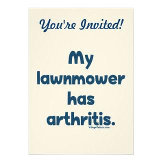 Lawnmower Has Arthritis Personalized Invite