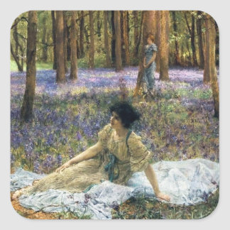 Lawrence Alma Tadema Bluebells Square Sticker