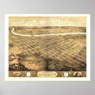 Lawrence Kansas 1869 Antique Panoramic Map Poster