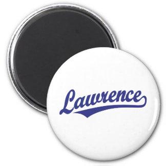 Lawrence script logo in blue magnets