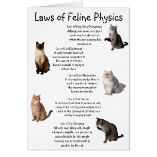 """Laws of Feline Physics"" Greeting Card"