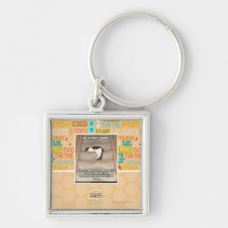 Laws of Kitteh Probability Silver-Colored Square Key Ring