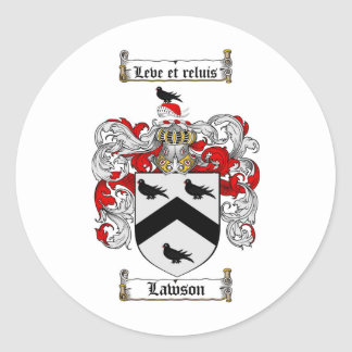 LAWSON FAMILY CREST -  LAWSON COAT OF ARMS ROUND STICKER