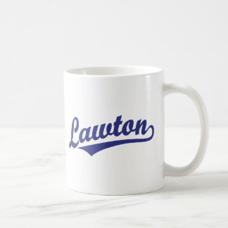 Lawton script logo in blue basic white mug