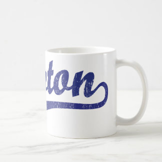 Lawton script logo in blue distressed basic white mug
