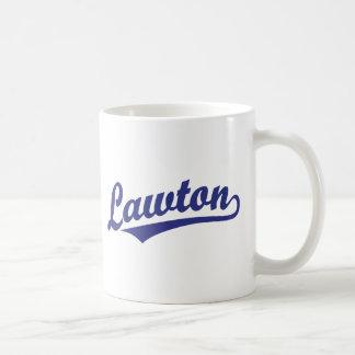 Lawton script logo in blue classic white coffee mug
