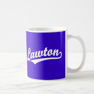Lawton script logo in white basic white mug