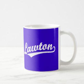 Lawton script logo in white distressed basic white mug