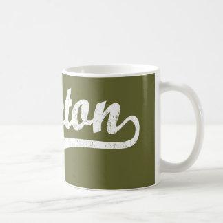 Lawton script logo in white distressed classic white coffee mug