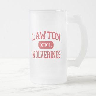 Lawton - Wolverines - High - Lawton Oklahoma Frosted Glass Mug