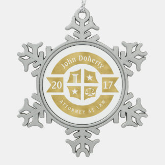 Lawyer 2017 Attorney At Law | Decorative Golden Pewter Snowflake Decoration