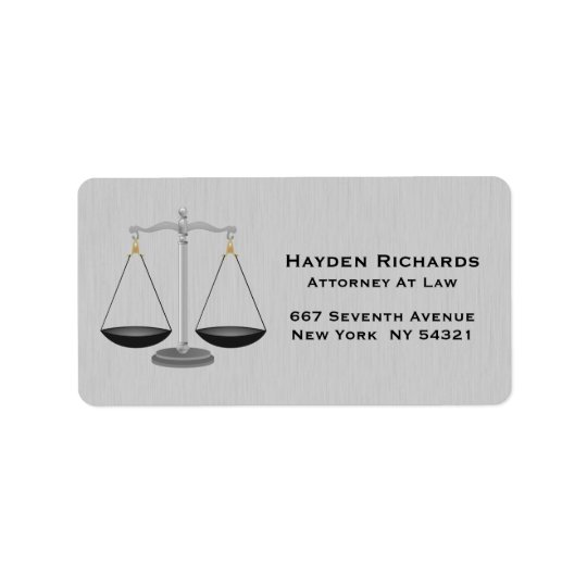 Lawyer Attorney Justice Scales Address Label