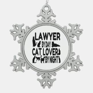 Lawyer Cat Lover Pewter Snowflake Decoration