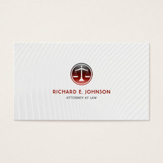 Lawyer Firm Attorney of Law Red Justice Scales Business Card