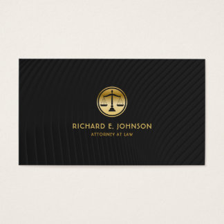 Lawyer Gold Look Justice Scales Icon Elegant Black Business Card