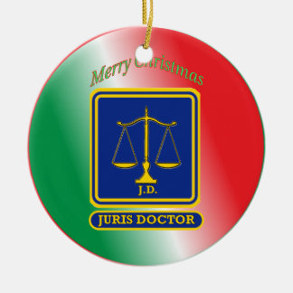 Lawyer JD Scales Shield Christmas Ornament