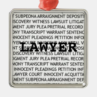 Lawyer Legal Terminology Christmas Silver-Colored Square Decoration