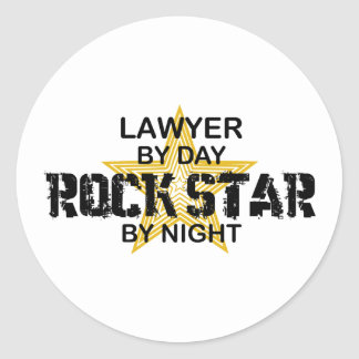 Lawyer Rock Star by Night Classic Round Sticker