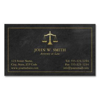 Lawyer Scales of Justice Gold (effect) Attorney Magnetic Business Card