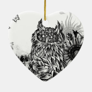 Lay of the land, floral owl ornament