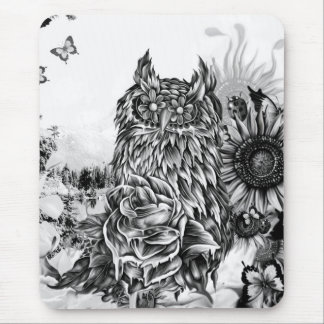 Lay of the land, floral owl mouse pad