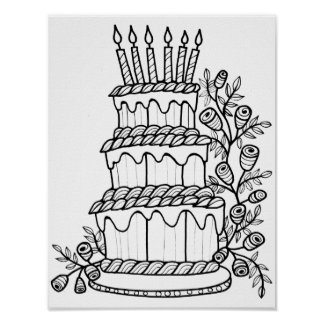 Layer Cake Cardstock Adult Coloring Page Poster