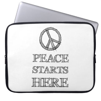 Layer the Peace Starts Here Laptop Sleeve