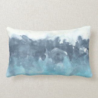 Layered Blues Abstract Painting Lumbar Pillow