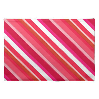 Layered candy stripes - red, pink and white place mat